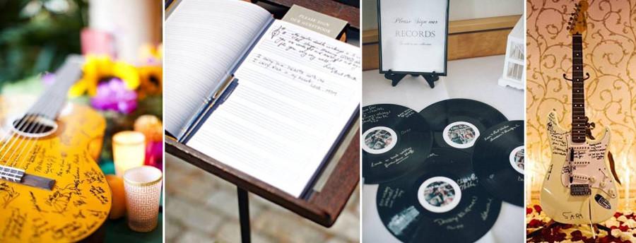 Виниловые пластинки, музыкальные инструменты или тетрадь для нот вместо обычной свадебной гостевой книги
