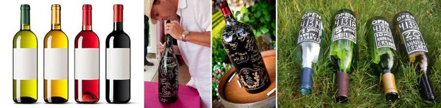 Винные бутылки с пожеланиями на свадьбе