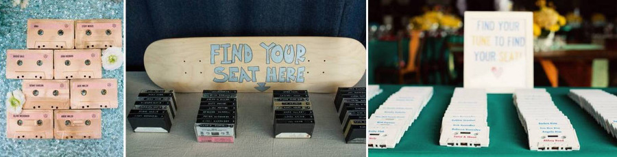 карточки для рассадки гостей - имена написаны на кассетах