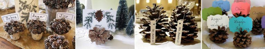 карточки с именами гостей вставлены в еловые шишки