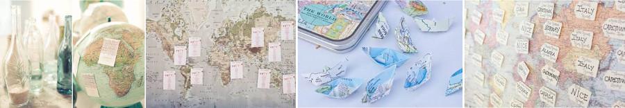 карточки расадки гостей в виде географических карт