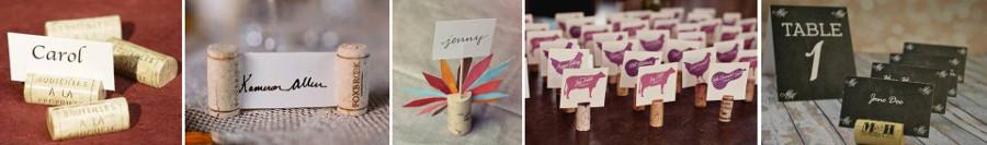 карточки для рассадки гостей на свадьбе закреплены в винной пробке